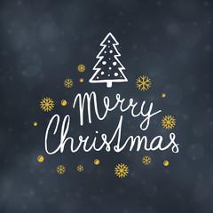 Merry Christmas typography design, Winter season greeting card, vector illustration