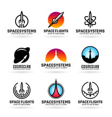 Vector flying rockets, space shuttles, spaceship launch, aviation. Icons and logo design elements