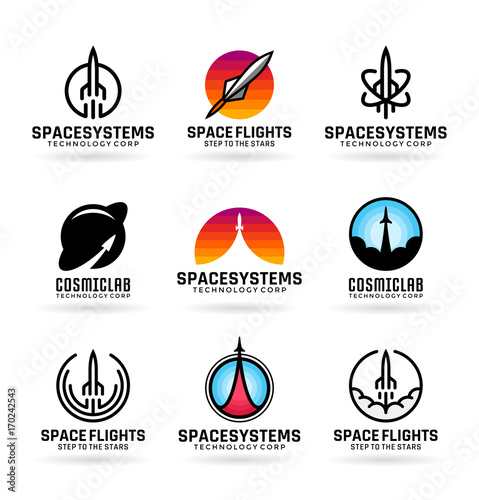 vector flying rockets space shuttles spaceship launch aviation icons and logo design. Black Bedroom Furniture Sets. Home Design Ideas