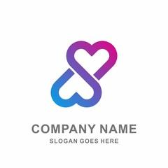 Heart Love Infinity Luxury Diamond Jewelry Fashion Accessories Business Company Stock Vector Logo Design Template