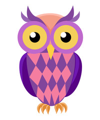 Vector image of an owl on white background Web site page and mobile app design.