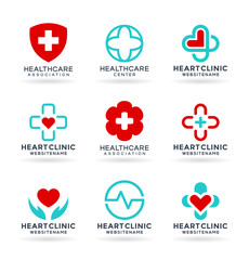 Medicine and Healthcare. Medical icons set and healthcare logo design elements. Vector illustrations and logotype templates