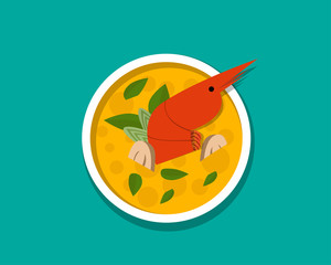 Thai shrimp soup - Tom yum Kung, top view, vector