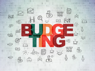 Business concept: Budgeting on Digital Data Paper background