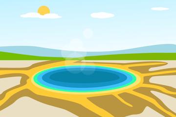 Yellowstone lake landscape in vector design