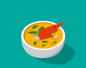 Thai soup with shrimp - Tom yum Kung in 3D vector