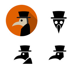 Set of Plague doctor icons, vector