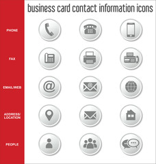 Business card contact information icons collection