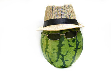 Watermelon with glasses and a straw hat.