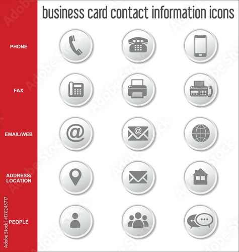 Business Card Contact Information Icons Collection Fichier