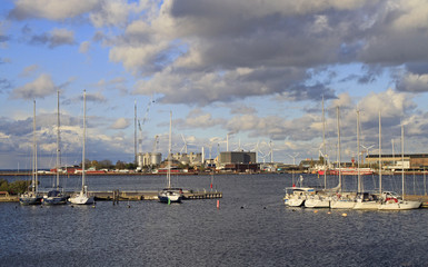 yachts and industrial buildings in Copenhagen, Denmark