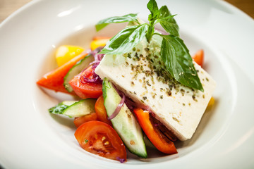 Greek salad on a plate