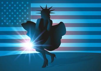État-Unis - USA - symbole - Amérique - statue de la liberté - drapeau