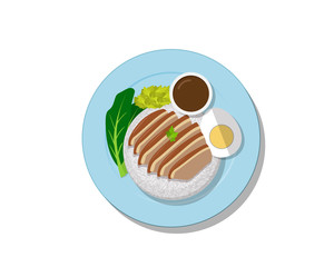Stewed pork leg on rice, Top view Vector Thai food