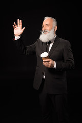 businessman with coffee waving hand