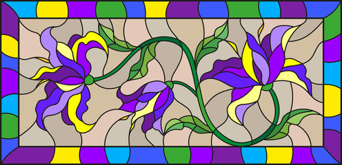 Illustration in stained glass style with abstract blue flowers on a beige background in a bright frame