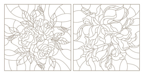Set contour illustrations of stained glass with flowers,lilies and roses