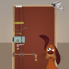 illustration of dog is guarding the house