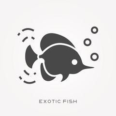 Silhouette icon exotic fish