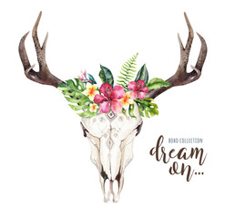 Watercolor bohemian cow skull and tropic palm leaves. Western deer mammals. Tropical deer boho decoration print antlers. flowers, leaves feathers. Isolated on white background. Aloha design.