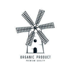 Mill icon. Graphic design for label and logo