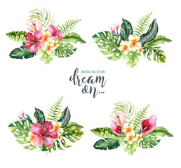 Hand drawn watercolor tropical flower bouquets. Exotic palm leaves, jungle tree, brazil tropic botany elements and flowers. Perfect for fabric design. Aloha design