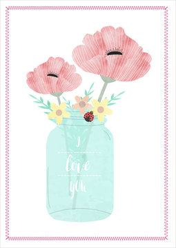 MASON JAR WITH FLOWERS IN WATERCOLOR EFFECT