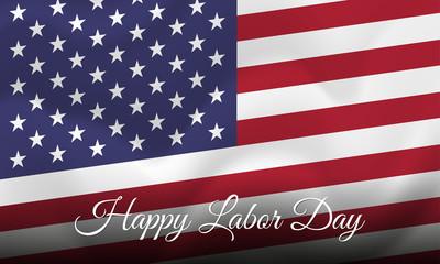 Happy Labor Day. Banner. USA flag. Vector illustration.