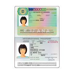 Vector international open passport with Spain visa