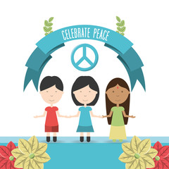 cartoon kids and peace sign icon over white background colorful design vector illustration