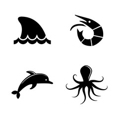 Marine Life. Simple Related Vector Icons Set for Video, Mobile Apps, Web Sites, Print Projects and Your Design. Black Flat Illustration on White Background.