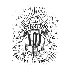 Hand-drawn logo with a flying rocket. Startup careless emblem.