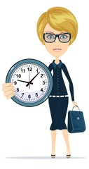 Time management. Woman character Holding Clock. Time management concept. Isolated on white background. Stock vector illustration