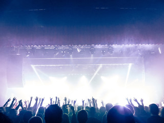 Concert crowd in front of a stage