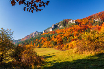 Colorful landscape in autumn, National Nature Reserve Sulovske skaly, Slovakia.