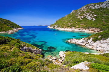 beautiful bay near afionas, porto timoni, corfu island, greece Fototapete