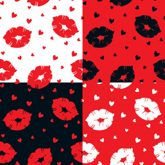 Seamless vector pattern with lips and hearts.