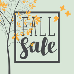 Vector banner with the inscription fall sale. Autumn landscape with autumn leaves on the branches of trees in a Park or forest and sparrows. Can be used for flyers, banners or posters.