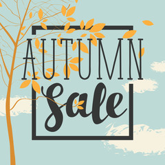 Vector banner with the words Autumn sale. Autumn landscape with autumn leaves on the branches of trees in a Park or forest on the background of blue sky with clouds