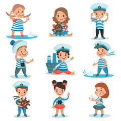 Cute little kids in sailors costumes playing and dreaming of sailing set of colorful vector Illustrations