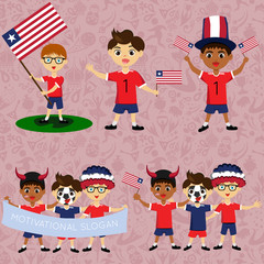 Set of boys with national flags of Liberia. Blanks for the day of the flag, independence, nation day and other public holidays. The guys in sports form with the attributes of the football team