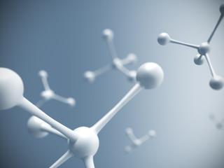 White molecule structure. 3D rendering.