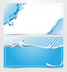 Oktoberfest Gutschein Karte mit Schleife und Rautenmuster blau weiss