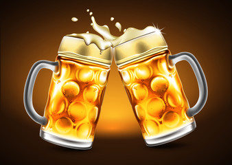 Traditional glasses of beer with droplets of moisture. Highly realistic illustration with the effect of transparency.