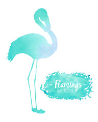 Watercolor mint flamingo silhouette illustration, hand painted isolated on a white background