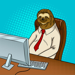 Fotobehang Pop Art Sloth animal office worker pop art vector