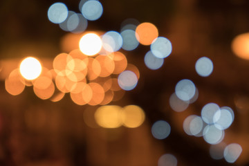 Night light in big city, abstract blurred bokeh defocused background.
