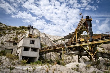 No longer operating conveyor belts in an old mine