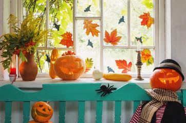 halloween pumpkin and decoration indoor