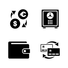 Personal Finance. Simple Related Vector Icons Set for Video, Mobile Apps, Web Sites, Print Projects and Your Design. Black Flat Illustration on White Background.